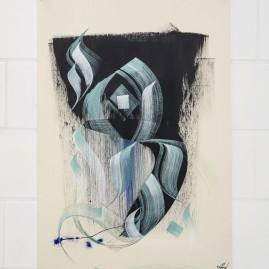 Kalligraphie – Acryl und Tinte auf finn. Holzpapier / 100x70 cm