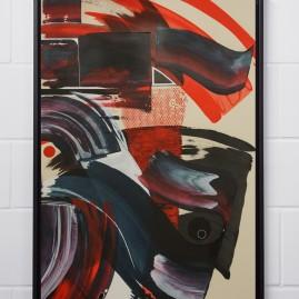 Feuer und Flamme – Beyond Words / abstract calligraphy. Acryl auf finn. Holzpapier - 100x70 cm