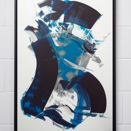 Beyond Words. The Blue. Acryl auf Siebdruckkarton / 120x85 cm