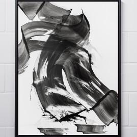 Beyond Words. Abstract calligraphy. Antiktusche auf Siebdruckkarton / 100x75 cm