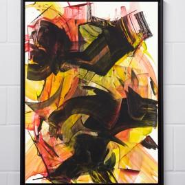Beyond Words. Abstract calligraphy. Acryl und Antiktusche auf Siebdruckkarton / 100x75 cm