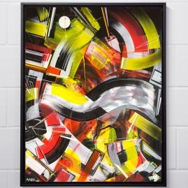 Beyond Words.abstract calligraphy Acryl auf Buchbinderkarton / 100x80 cm