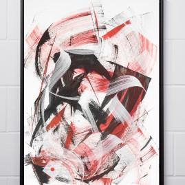 Beyond Words.abstract calligraphy Acryl & Antiktusche auf Fotokarton / 100x70 cm