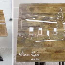 Illustration - Architektur Tisch – Station Egeln (Acryl auf Holz)
