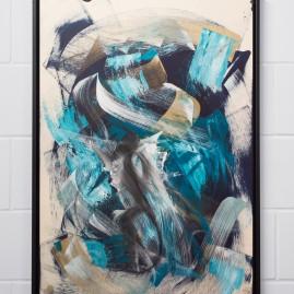 Beyond Words / abstract calligraphy. Acryl & Tusche auf finn. Holzpapier - 100x70 cm