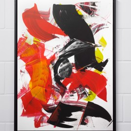 Beyond Words.abstract calligraphy Acryl & Antiktusche auf Siebdruckkarton / 120x85 cm