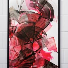 Beyond Words. Abstract calligraphy. Antiktusche auf Siebdruckkarton / 89x64 cm