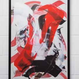 Beyond Words.abstract calligraphy Acryl & Antiktusche auf Siebdruckkarton / 100x70 cm